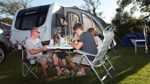 Touring caravan pitches at Trevella Park