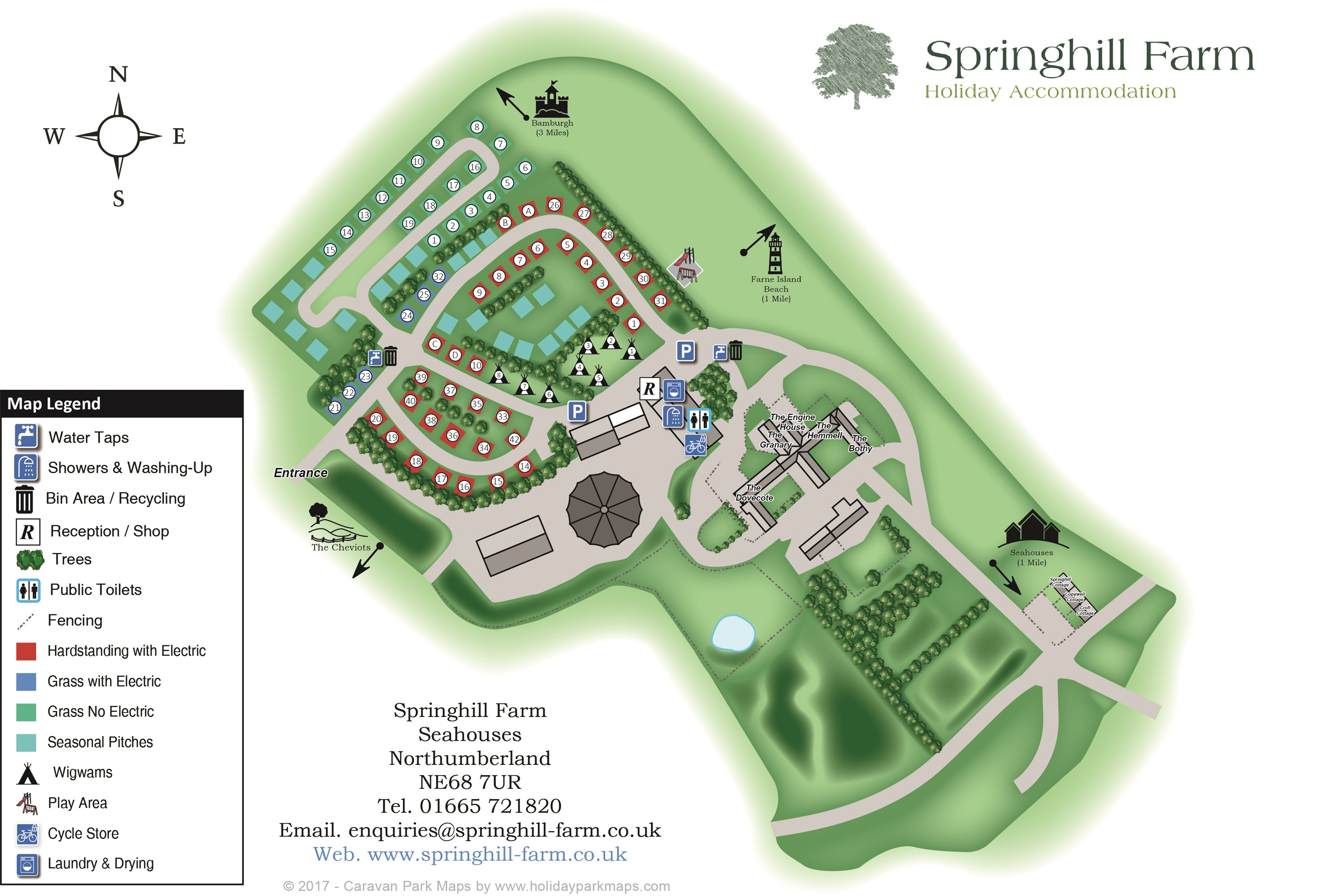 Springhill Farm Holiday Accommodation in Seahouses